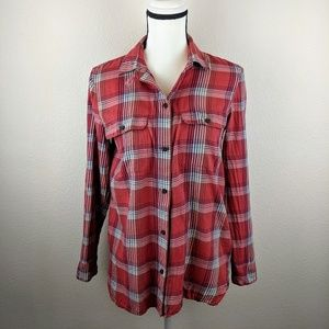Madewell Red Plaid Cotton Flannel Button Top